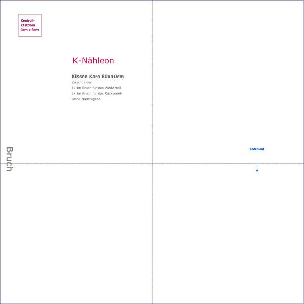 Download kostenloses Schnittmuster Kissenhuelle Karo 80x40cm