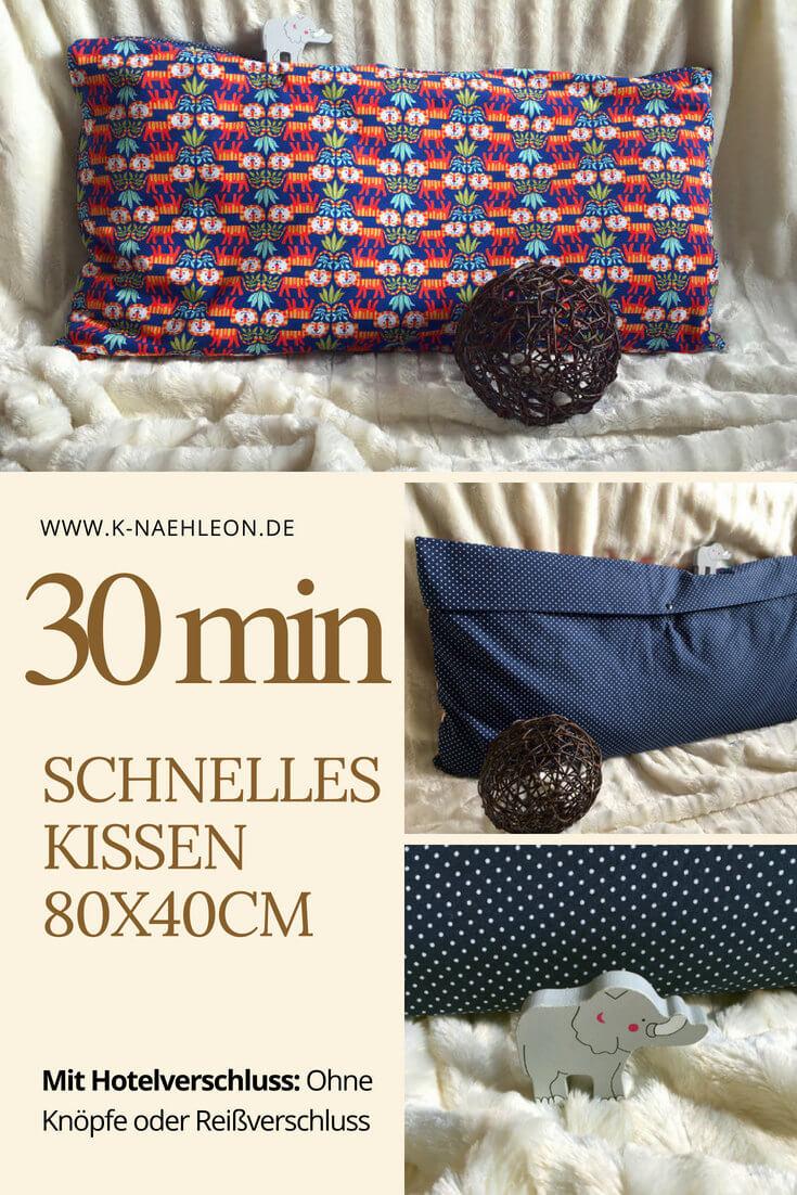 Anleitung: Kissen 40x80 mit Hotelverschluss nähen