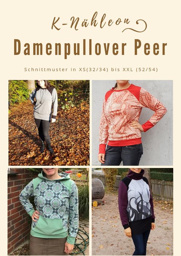 Schnittmuster Hoodie und Pullover Peer für Damen XS - XXXL