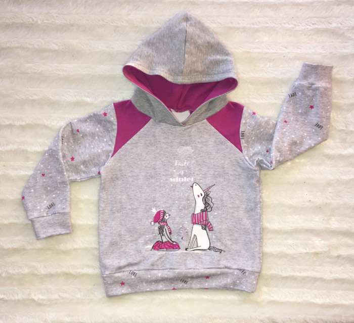 Hoodie Peer für Kinder - Einhorn und Schnee