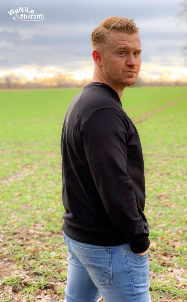 Herren-Schnittmuster Pullover Peer in schwarz