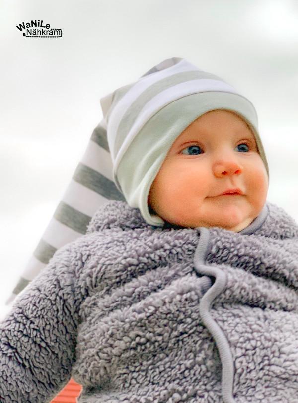 Zipfelmütze mit Ohrenschutz für Babys nähen