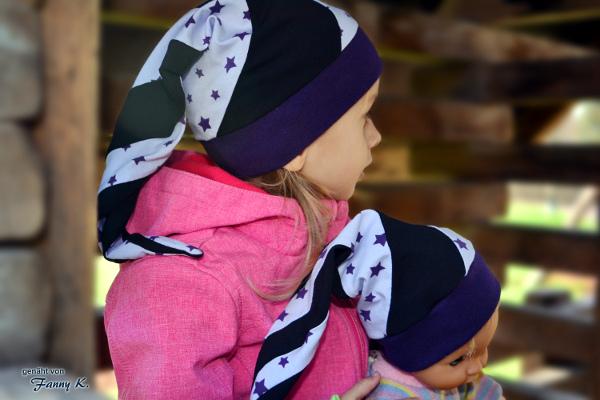 Partnerlook Zipfelmütze für Mädchen und Puppe mit dem Schnittmuster Zephyr