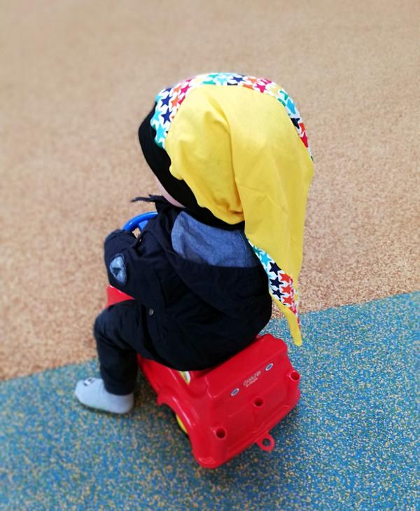 Schnittmuster für eine Spiral-Zipfelmütze für Kinder