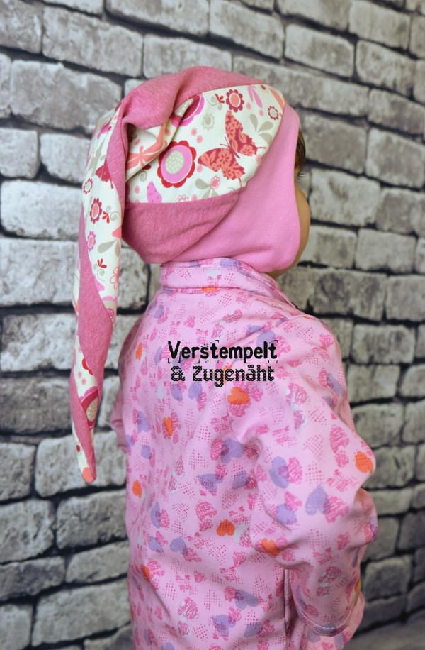 Tragebild Zipfelmütze Zephyr in rosa für Mädchen