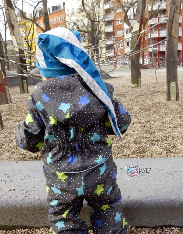 Tragebil Jungen-Zipfelmütze in blau-grau