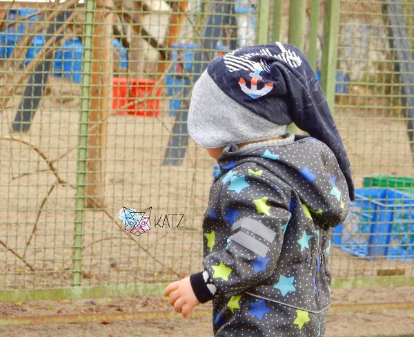 Maritime Zipfelmütze für Kinder mit Anker-Applikation