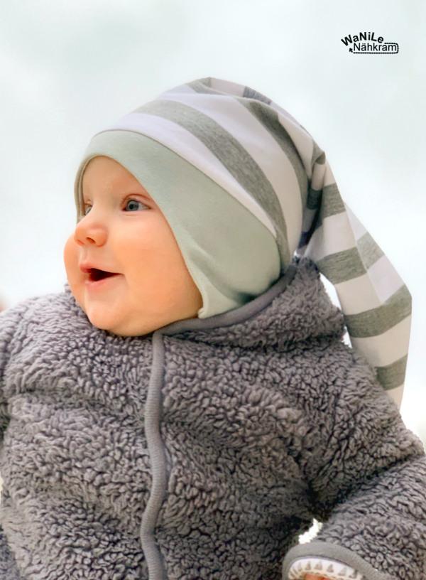 Schnittmuster Zipfelmütze für Babys mit Ohrenschutz