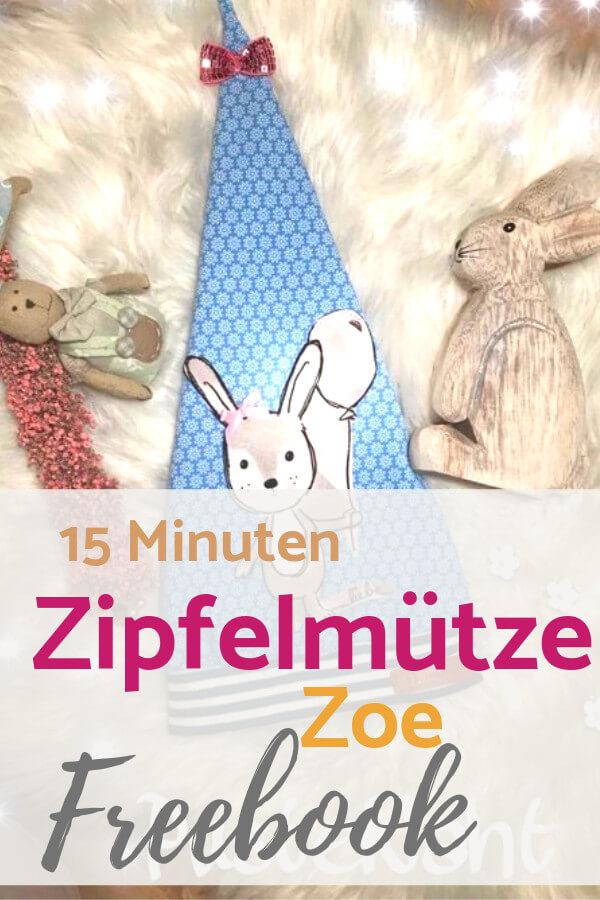 Pin kostenloses Schnittmuster Zipfelmütze Zoe für Babys und Kinder