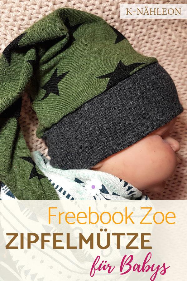 Baby-Zipfelmütze mit dem kostenlosen Schnittmuster Zoe nähen