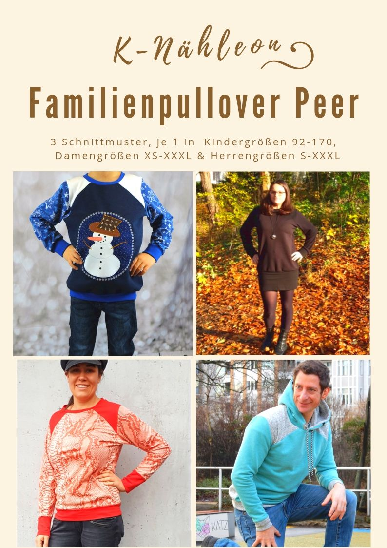 Kombi-Ebook Schnittmuster Pullover Peer für Kinder, Damen und Herren