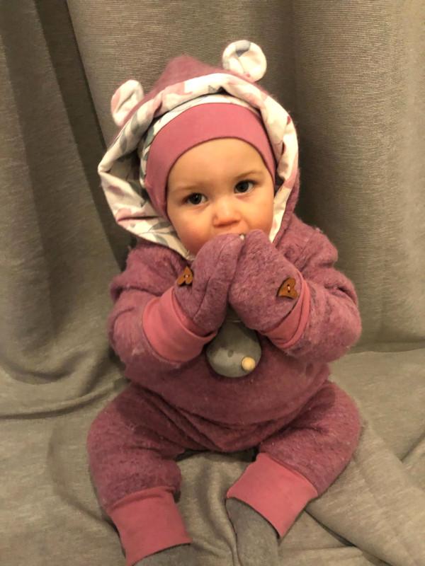 Baby-Handschuh aus rosa Wollwalk