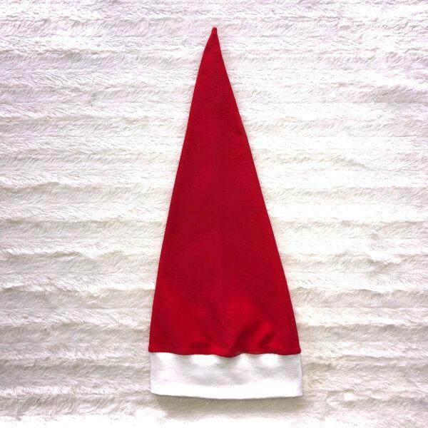 Einfache Nikolaus-Mütze aus rotem Jersey und weißem Bündchen nähen