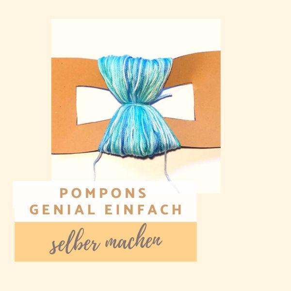 Pompons Genial einfach selber machen - mit rechteckiger Schablone aus Pappe