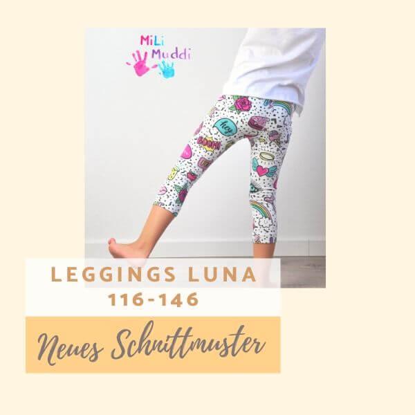 Schnittmuster Leggings Luna für Kinder in 116. 122. 128. 134, 140 und 146
